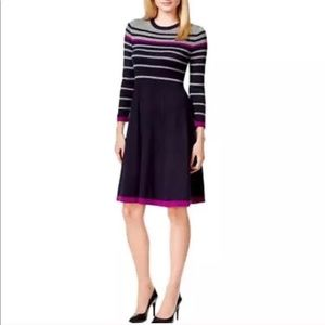 JESSICA HOWARD navy SWEATER DRESS striped gray M/L